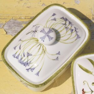 Agapanthus Hand Painted Fine China Butter Dish