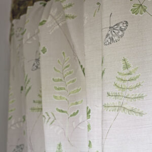 Brook Meadows Green Fern and Butterfly on Biscuit, Linen Union