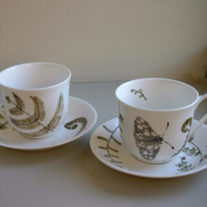 Hand Painted Small Tea Cup and Saucer with Fern and Small Butterfly