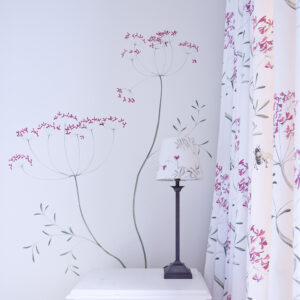 Angelica Crimson On Natural, Linen Union Curtains