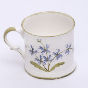 Handpainted fine china small mug by  Holly Lasseter with blue salvia flower