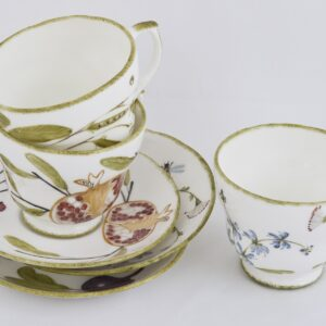 Hand Painted fine china large cups and saucers by Holly Lasseter