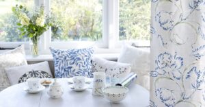 Holly Lasseter Designs Garden Tulip Blue Fabric and hand painted fine china and cushions